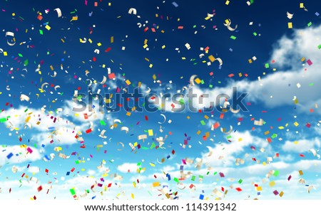 Colorful Confetti in Sky with depth of field - stock photo