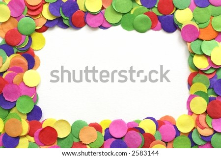 Colorful confetti on white background - empty place for your text