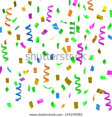 Colorful confetti - party streamers, 3d - stock photo