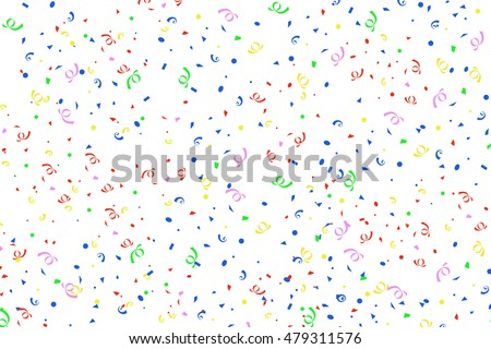 Colorful confetti ribbons background on white. 3D rendering.