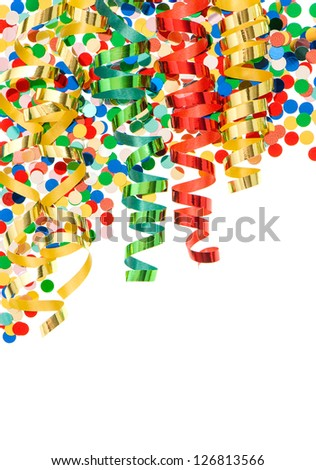 colorful confetti with shiny streamer over white background. party decoration - stock photo