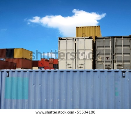 Colorful container on the storage site in a harbor