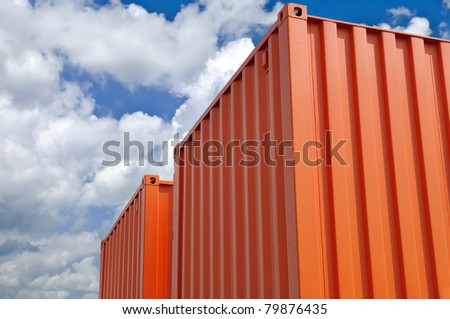 colorful containers at warehouse - stock photo
