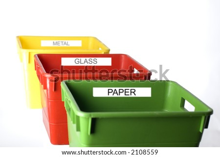 colorful containers for trash separation - stock photo