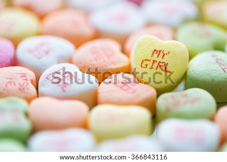Colorful conversation heart shaped candies for Valentine's Day - stock photo