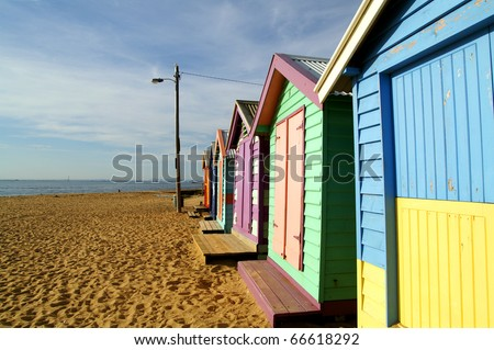 Colorful cottage, Brighton beach, Melbourne - stock photo