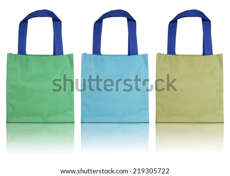 colorful cotton bag isolated on white background