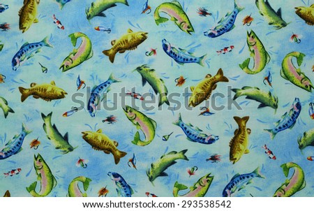 Colorful cotton fabric with fish pattern for background or texture