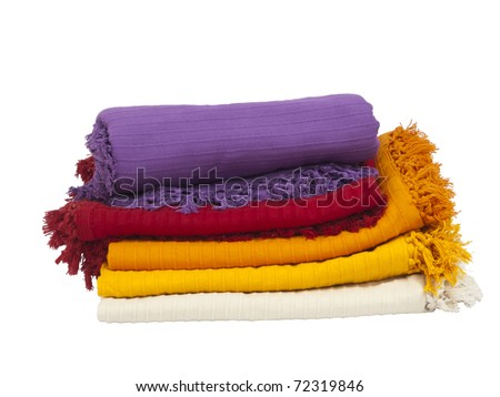Colorful cotton Table napkin or tablecloth isolated on white / bad cover / - stock photo