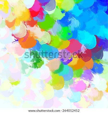 Colorful cover big round brush strokes background. Raster version  - stock photo