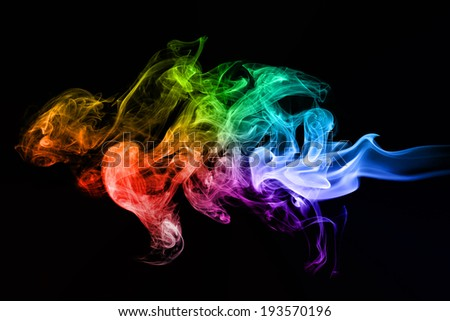 Colorful creative smoke waves on black background. Perfect for design, as graphic element or template background. - stock photo