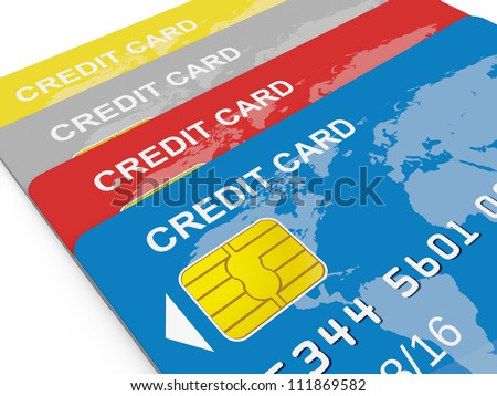 Colorful credit cards, front view, isolated on white. - stock photo