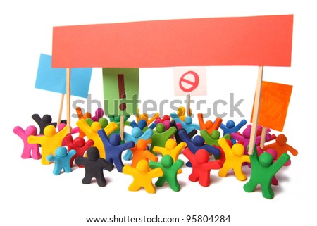 colorful crowd of rebelling plasticine people out on the street for a demonstration