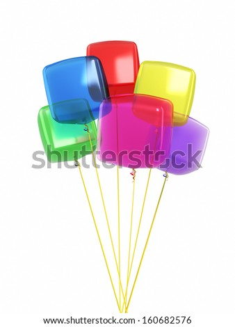 Colorful cube balloons render (isolated on white and clipping path) - stock photo