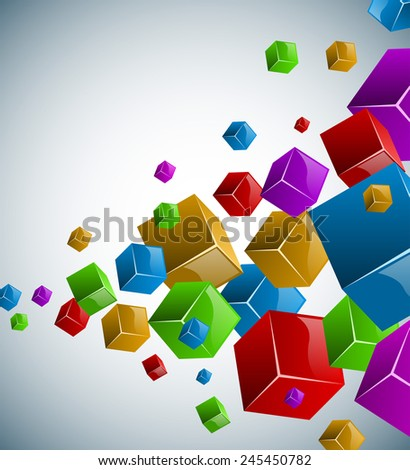 Colorful cubes background with copy space. - stock photo