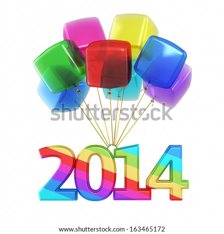 Colorful cubes Balloons New Year 2014 (isolated on white and clipping path) - stock photo