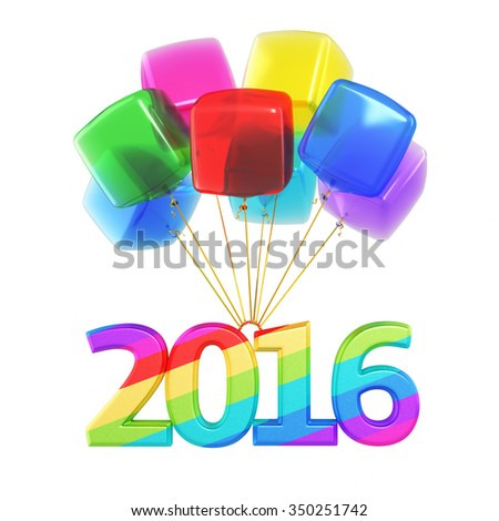 Colorful cubes Balloons New Year 2016 (isolated on white and clipping path) - stock photo