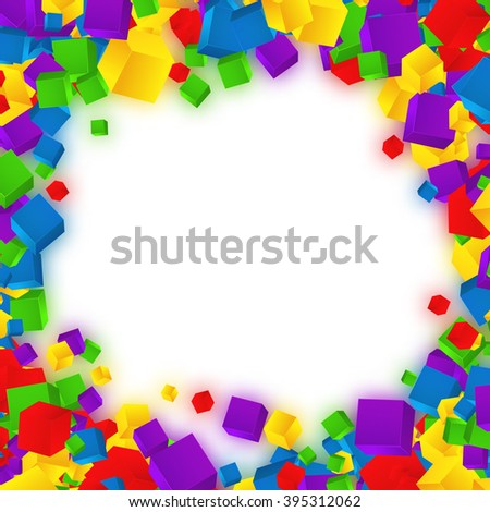 Colorful cubes composition.Background template. - stock photo