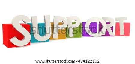 Colorful cubes with support word, 3D rendering