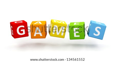Colorful cubes with word isolated on white