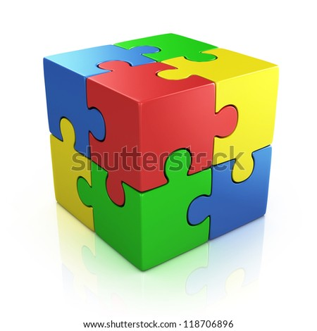colorful cubic 3d puzzle - stock photo