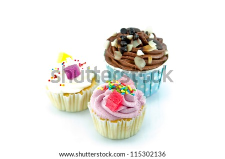 Colorful Cup Cake  isolated on white background - stock photo