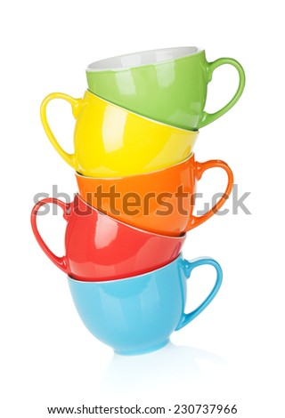 Colorful cups. Isolated on white background - stock photo