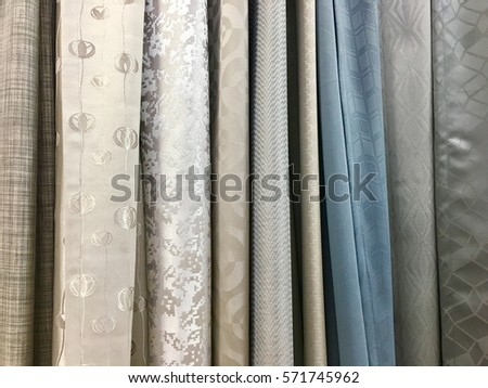 Colorful Curtain Samples Hanging Hangers On Stock Photo (Royalty ...