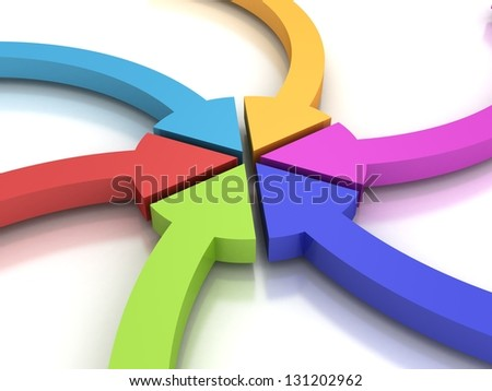 colorful curving arrows sweep inward to point at the center - stock photo