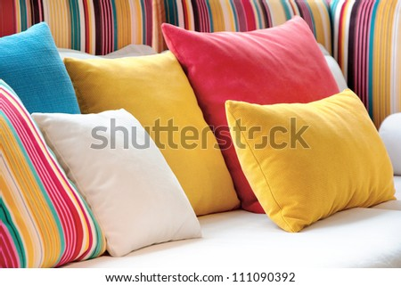 Colorful Cushion In Sofa - stock photo