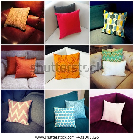 Colorful cushions decorating sofas. Interior design. Collage of nine photos.