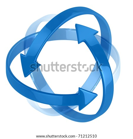 colorful 3d arrows symbolizing protection or motion - stock photo