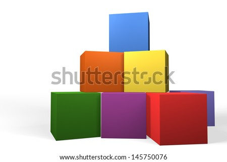 Colorful 3d building blocks in the colors of the rainbow stacked on top of one another forming a pyramid, low angle view over a white background - stock photo