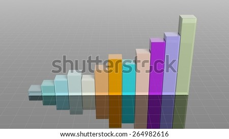 Colorful 3D business bar chart infographic - stock photo