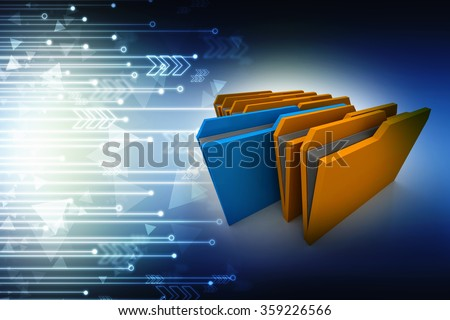 colorful 3d folders - stock photo