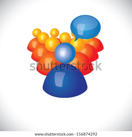 colorful 3d icons or signs leader giving commands or orders graphic. This illustration also represents sports captain instructing his team, political leader interacting, manager - stock photo