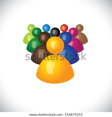 colorful 3d icons or signs of office staff or employees graphic. This illustration also represents community members, leadership & team, winner and losers, political leader & followers - stock photo