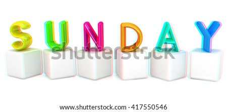 "Colorful 3d letters ""Sunday"" on white cubes on a white background. 3D illustration. Anaglyph. View with red/cyan glasses to see in 3D."
