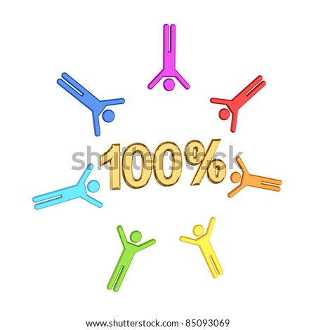 Colorful 3d small people and golden  inscription 100%.Isolated on white background. - stock photo