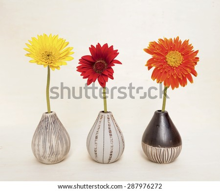 Colorful daisy flower in ceramic vase on wood background - stock photo