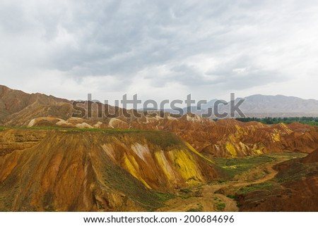 Colorful Danxia landform, located in East Asia Chinese northwest area, Gansu Province
