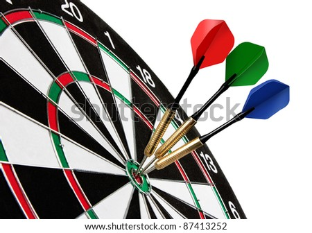 Colorful darts hitting a target, isolated on white - stock photo