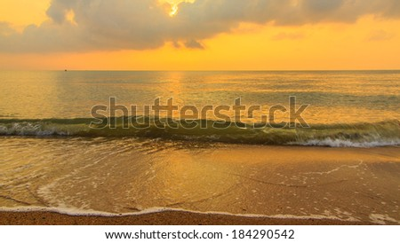 Colorful dawn over the sea in thailand