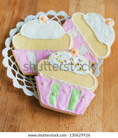 Colorful decorated cookies - stock photo