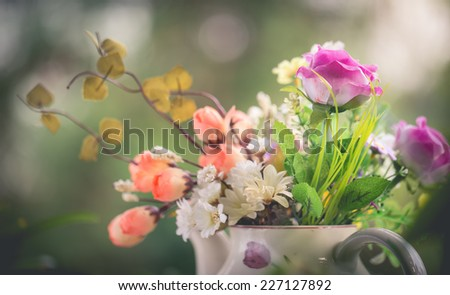 Colorful decoration artificial flower - stock photo