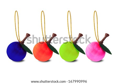 Colorful decoration balls on white with clipping path