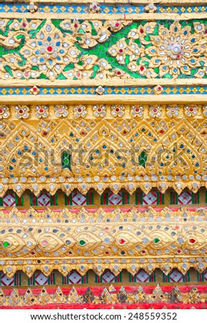 Colorful decoration in temple in Bangkok, Thailand - stock photo