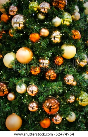 Colorful decoration of Christmas tree - stock photo