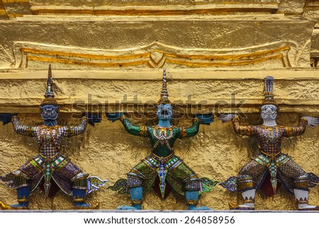Colorful decoration of the pagoda in Bangkok, Thailand