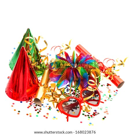 colorful decoration with garlands, streamer, cracker, party glasses and confetti. festive accessory background - stock photo